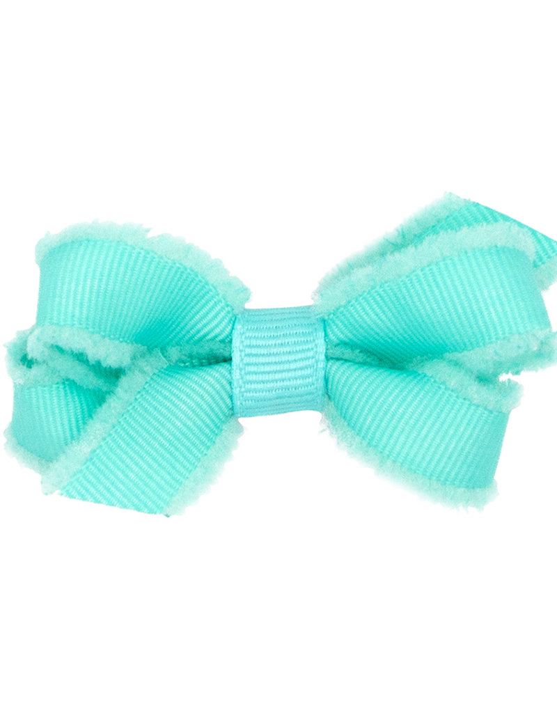 Wee Ones Small Furry Fringe Edge Grosgrain Bow Mint