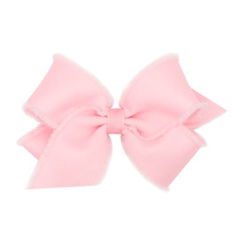 Wee Ones Small Furry Fringe Edge Grosgrain Bow Lt Pink
