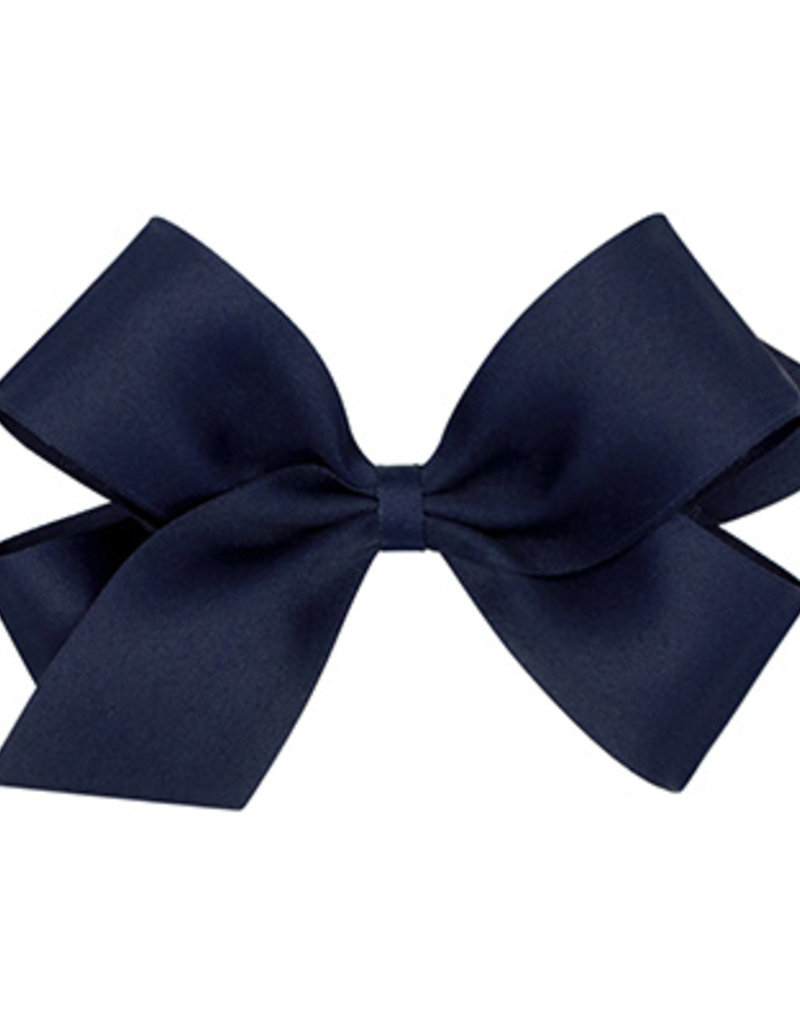 Wee Ones Tiny Pastel Matte Satin Bow Navy
