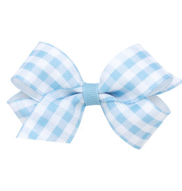 Wee Ones Mini Gingham Grosgrain Bow  Blue