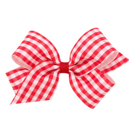 Wee Ones Med Gingham Grosgrain Bow Red