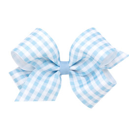 Wee Ones Med Gingham Grosgrain Bow Blue
