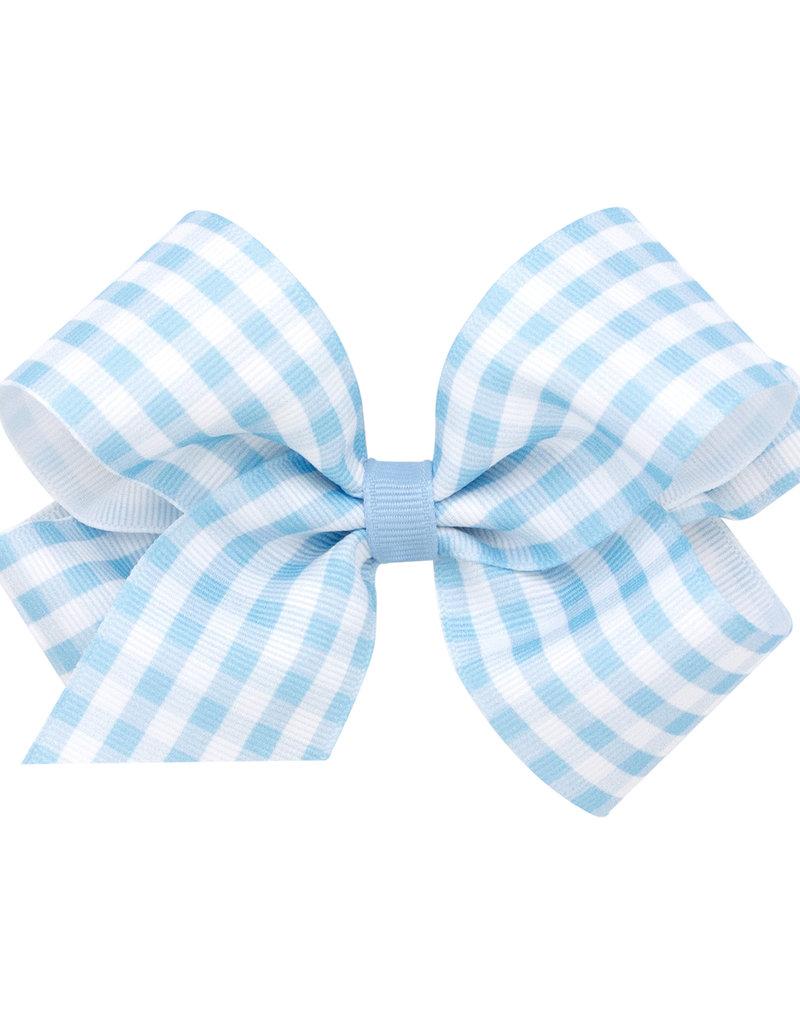 Wee Ones Med Gingham Grosgrain Bow Blue