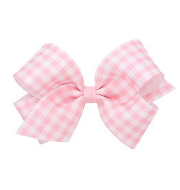 Wee Ones Med Gingham Grosgrain Bow Lt Pink