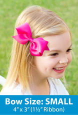 Wee Ones Small Grosgrain Bow Hot Pink