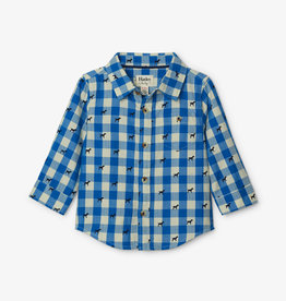 Hatley Blue Plaid Pups Shirt 3/6M-18/24M