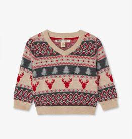 Hatley Fair Isle Stags V Neck Baby Sweater 6/9M, 9/12M