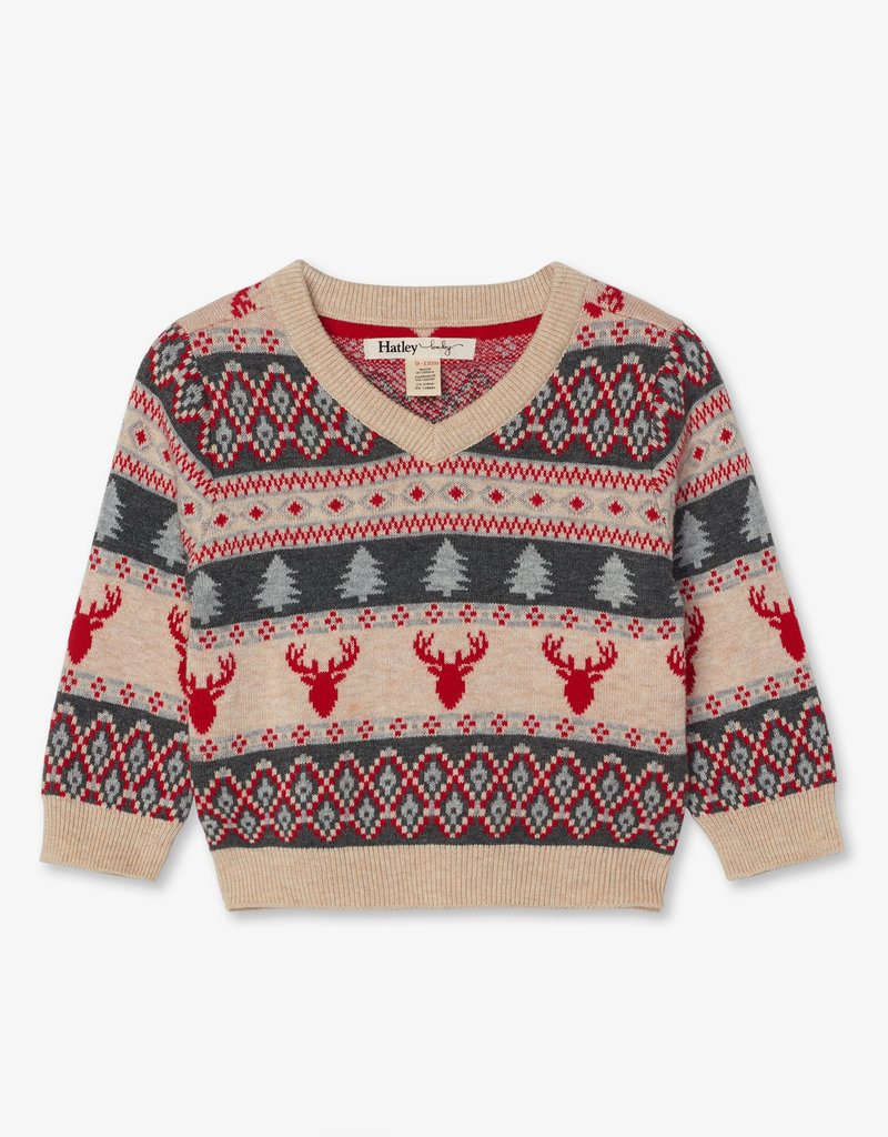 Hatley Fair Isle Stags V Neck Baby Sweater