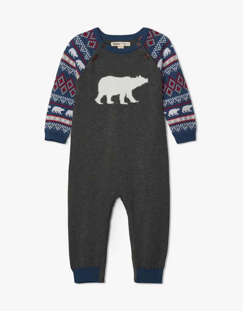 Hatley Fair Isle Polar Bears Sweater Romper 3/6M-18/24M