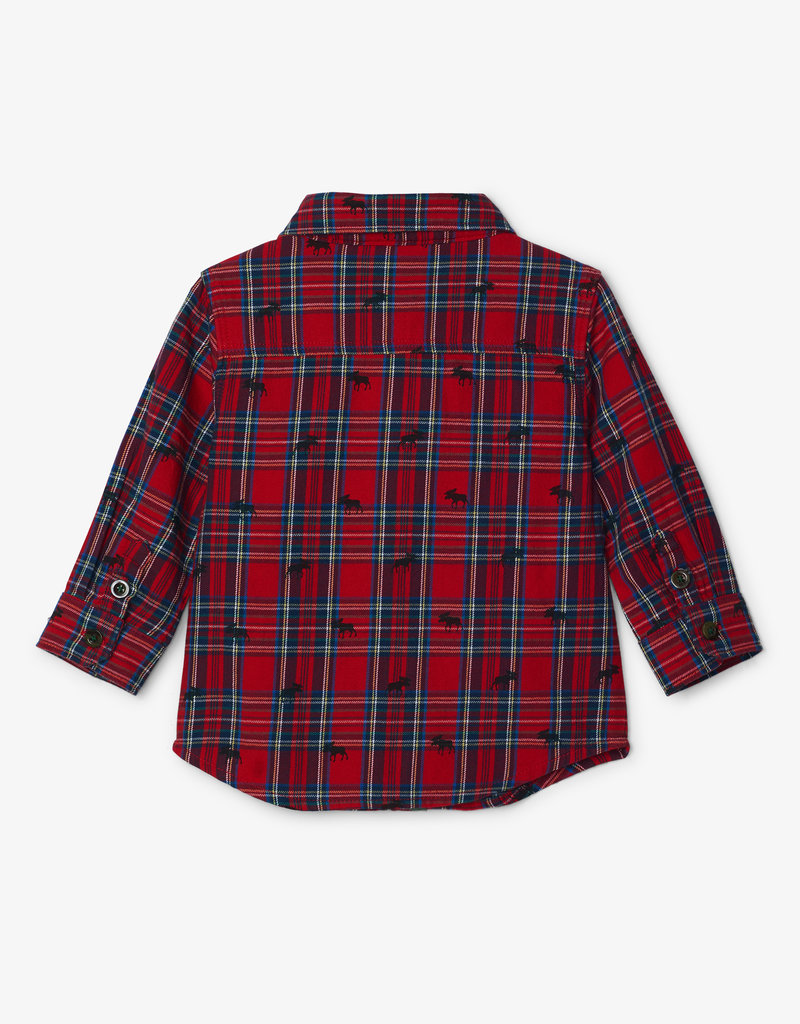 Hatley Holiday Plaid Moose Baby Shirt