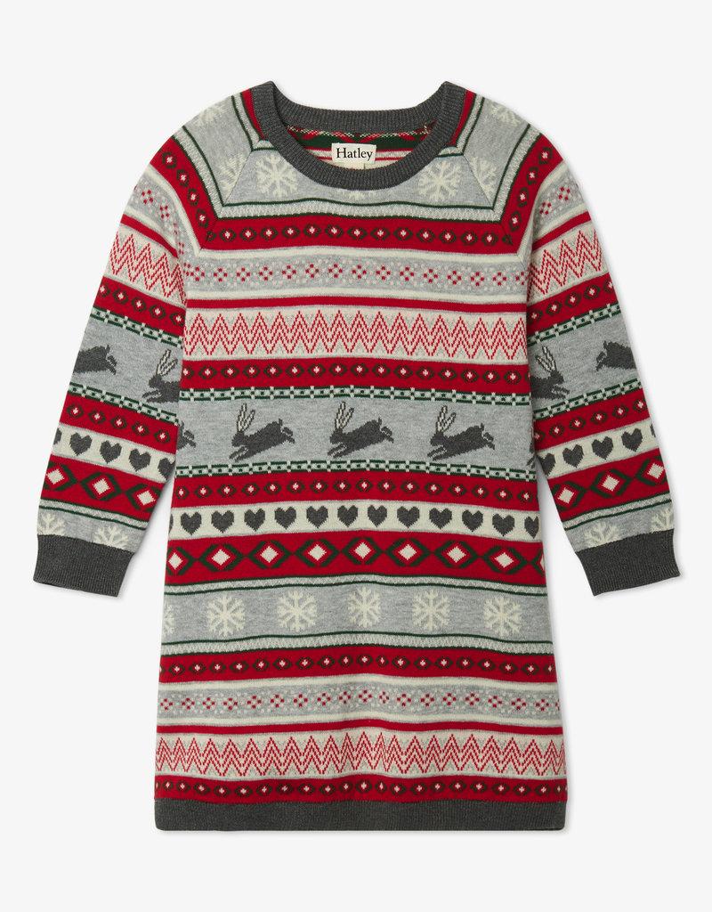 Hatley Fair Isle Bunnies Sweater Dress 2-10