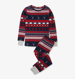 Hatley Fair Isle Stags Organic PJ Set 2-10