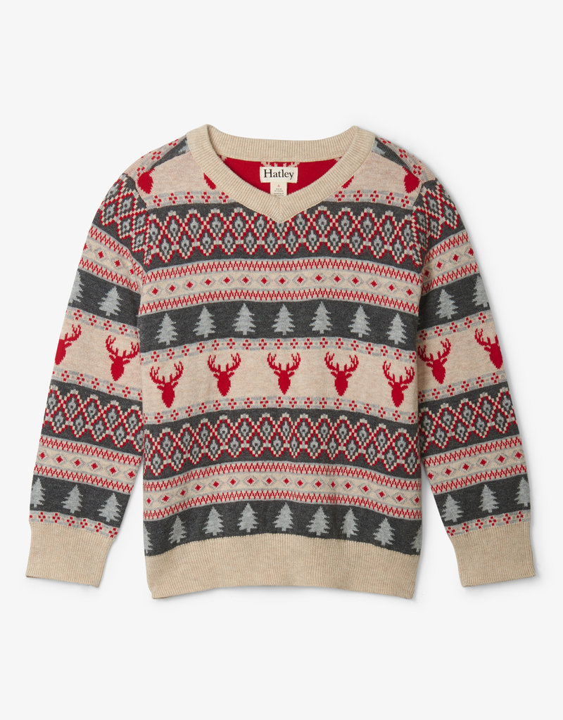 Hatley Fair Isle Stags V Neck Sweater 2-8