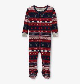 Hatley Fair Isle Stags Organic Footed Coverall  9/12M
