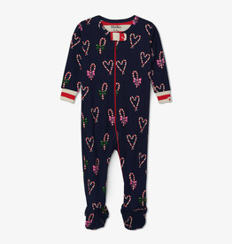 Hatley Candy Cane Hearts Footed Coverall 9/12M, 12/18M