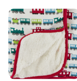 Kickee Pants Natural Toy Train Sherpa Lined Stroller Blanket