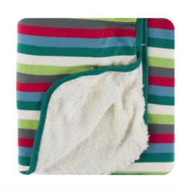 Kickee Pants 2020 Multi Stripe Sherpa Lined Stroller Blanket