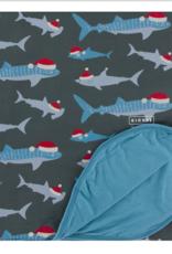 Kickee Pants Double Throw Blanket Pewter Santa Shark