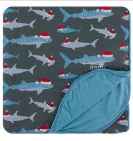 Kickee Pants Pewter Santa Shark Double Throw Blanket