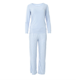 Kickee Pants Loosey Goosey Tee & Pant Set Frost Silver Trees L