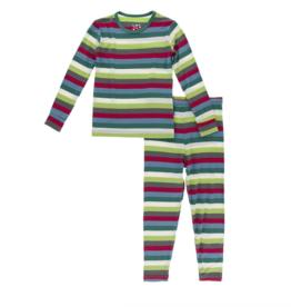 Kickee Pants 2020 Multi Stripe Print L/S PJ Set 4T