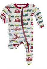 Kickee Pants Print Footie w/Zip Natural Toy Train