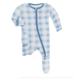 Kickee Pants Blue Moon Holiday Plaid Print Footie w/Zip  2T