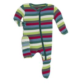 Kickee Pants 2020 Multi Stripe Print Footie w/Zip 0/3M-18/24M