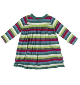 Kickee Pants 2020 Multi Stripe L/S Swing Dress 18/24M, 2T