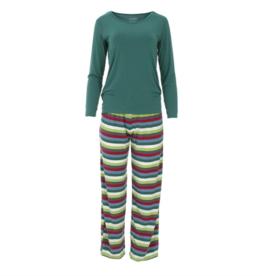 Kickee Pants Loosey Goosey Tee/Pant Set 2020 Multi Stripe S, XL