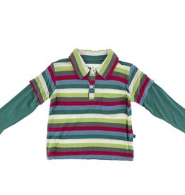 Kickee Pants 2020 Multi Stripe L/S Double Layer Polo 4T-S(6/8)