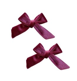 Baby Bling Bow 2 Pk Velvet Bow Clips Winterberry