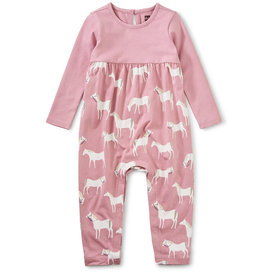 Tea Collection Two Tone Ruffle Romper Horse Herd 0/3M-18/24M