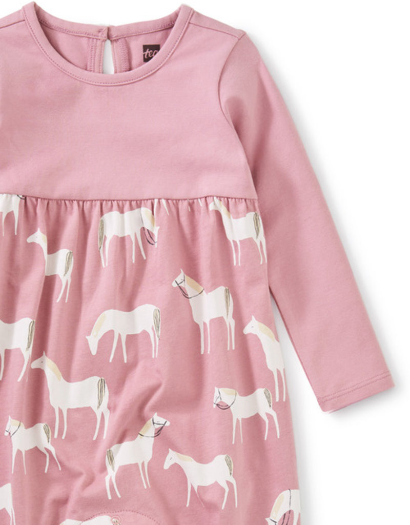 Tea Collection Two Tone Ruffle Romper Horse Herd