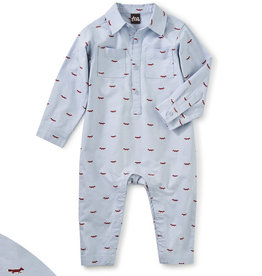 Tea Collection Plaid Buttoned Romper Oxford Fox 0/3M-18/24M
