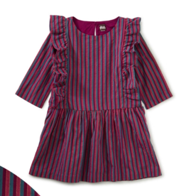 Tea Collection Metallic Stripe Ruffle Dress Loganberry 2T-12