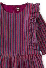 Tea Collection Metallic Stripe Ruffle Dress Loganberry