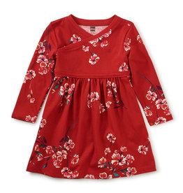 Tea Collection Floral Wrap Neck Dress Ruby 6/9M-2T