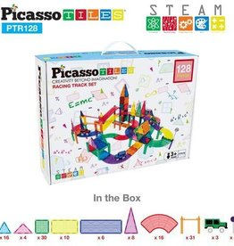 Picasso Tiles Race Track Set w/ 3 Led Cars 128 Pc