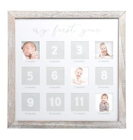 First Year Square Photo Frame Rustic