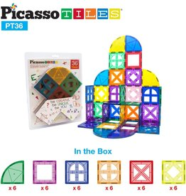 Picasso Tiles Magnetic Building Block Quarter Round 36 Pc