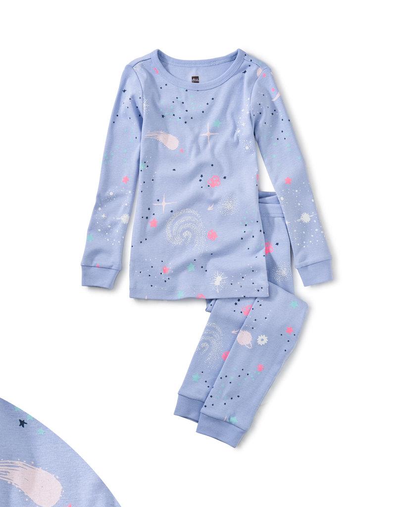 Tea Collection Glow L/S Pajamas Glow in Dark Galaxy