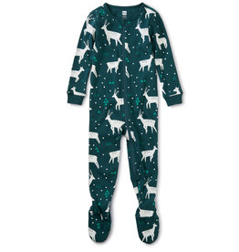 Tea Collection Patterned Footed PJ Night Dear 3/6M-2T