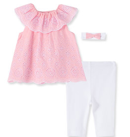 Little Me All Over Eyelet Top/Pant Set Pink 3M-24M