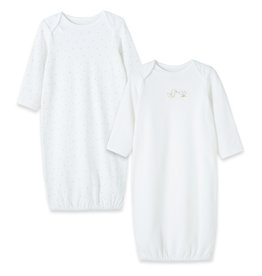 Little Me Duck 2 pack Gown White 0/3M