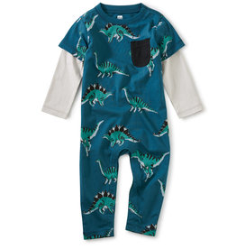 Tea Collection Hear Me Roar Layered Pocket Romper 0/3M, 9/12MM
