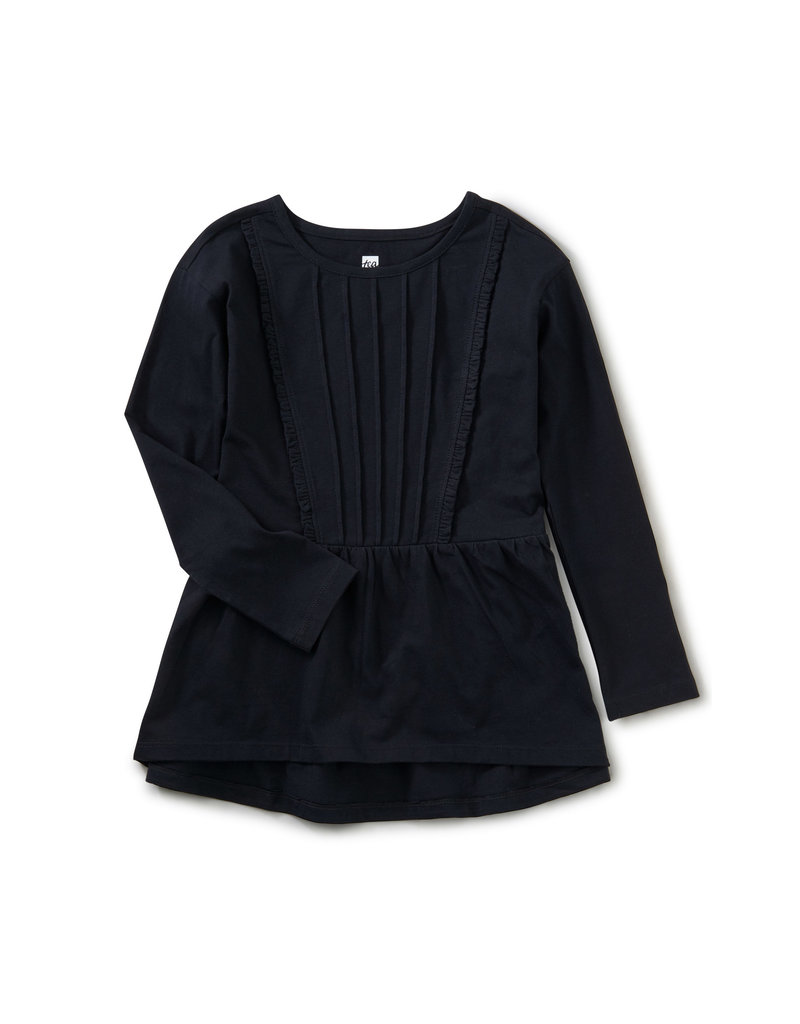 Tea Collection Pleated Pintuck Top Jet Black