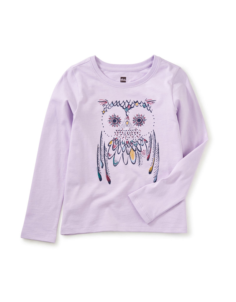 Tea Collection Embroidered Owl Graphic Tee Primrose