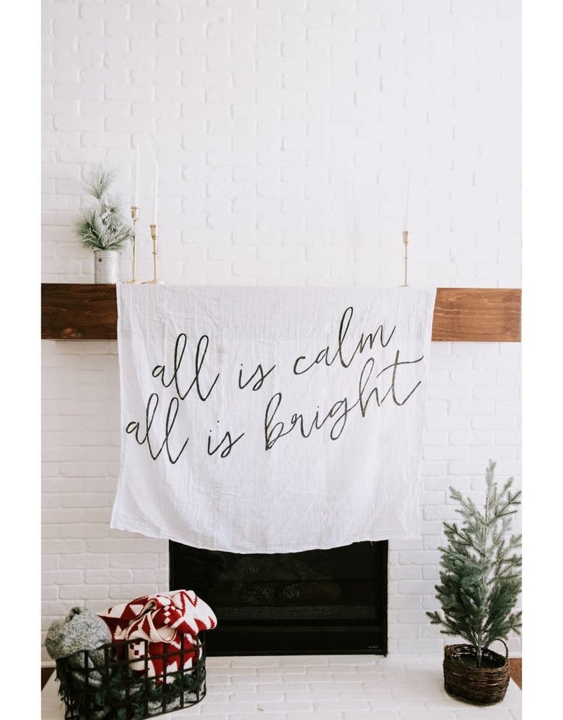 Modern Burlap Muslin Swaddle Blanket All is Calm All is Bright