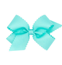 Wee Ones Med Scalloped Edge Bow Aqua